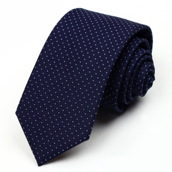 Harga 2016 High Quality Faux Silk Tie Fashion Ties for Men Casual With Polka Dot 7cm Neckties Slim Tie With Gift Box Free Delivery (Navy blue)