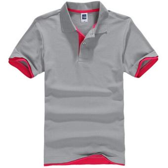 Harga 2017 Men's Polo Shirt with Contrast Hem (Grey/Red) - intl