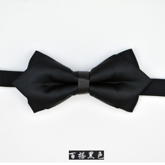 Harga You think you are the groom wedding bow tie men's korean version of the double layer fashion pointed solid models (Black)