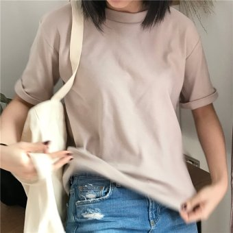 Korean version of the new summer ulzzang bf wild solid color round neck short sleeve loose t-shirt female students bottoming shirt (Beige)