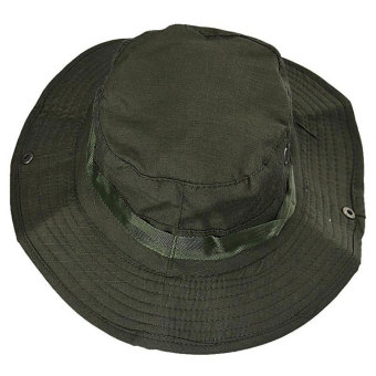 Harga Fashionable Unisex Bucket Hat Sun Visor Canvas Cap Travel Outdoor Caps Army Green