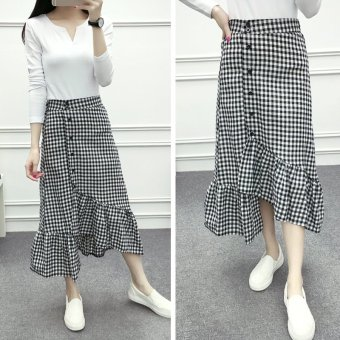 Harga Early spring new slim waist was thin wild plaid skirt female bust one breasted flounced fishtail skirt package hip
