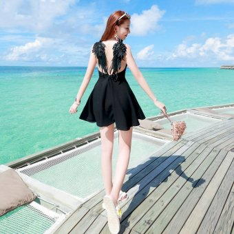 2016 summer lace sexy backless strapless dress seaside resort beach dress nightclub hollow angel wings (Black)