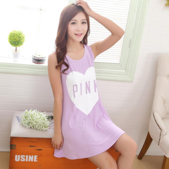 Harga Summer new arrival women's casual sleeveless vest nightgown cute cartoon student dress thin pajamas home service (Purple heart (tank dress))