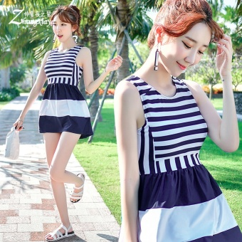 Swimsuit female conservative steel prop a small chest gather cover the belly Slimming effect split Skirt Style boxer striped student Korean small fresh