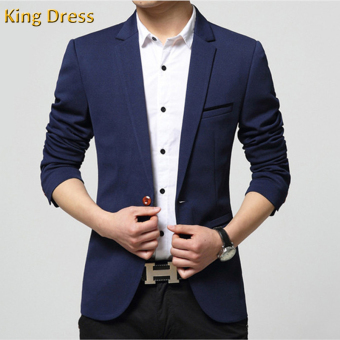 Harga Iron Free Man Suit Jacket Slim One Button Casual Men Blazer(Navy) - intl
