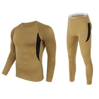 Harga Men's Ultra Soft Thermal Underwear Long Johns Set with Spandex Lined Khaki XXL - intl