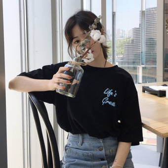 Summer New style Korean ulzzang Harajuku style small letters back surf Print loose short-sleeved t-shirt Top tide (Black)