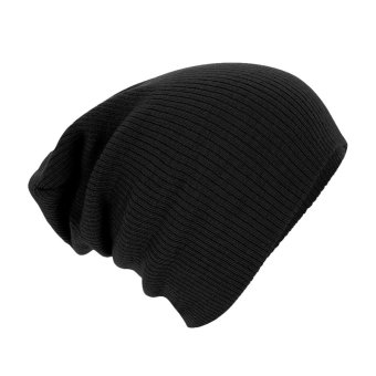 Unisex Men Hip-Hop Warm Winter Wool Knit Ski Beanie Skull Slouchy Cap Hat Black