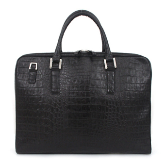 Harga Omnia Croc Embossed Genuine Cow Leather Men's Briefcase Business Bag (Black) - intl