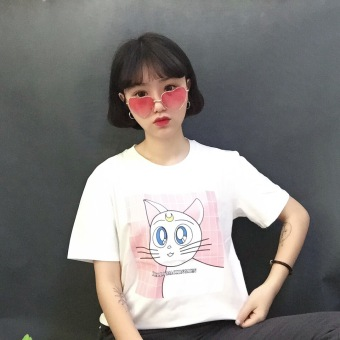 Japanese-style Harajuku style New style short-sleeved t-shirt female spoof cat Print Student Summer cute bottoming shirt small shirt tide (White)
