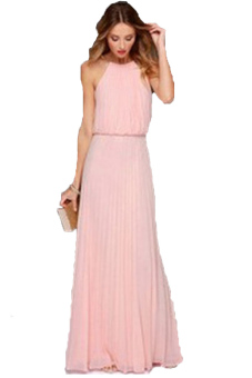 Harga Sexy O-neck Sleeveless Tank Dress (Pink)