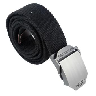 Harga leegoal Men Extra Long Military Style Canvas Web Belt With Slider Buckle,Black - intl