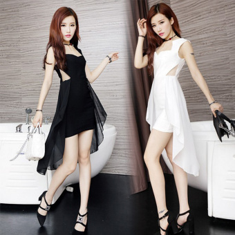 2017 summer new korean nightclub sexy ladies irregular hem chiffon strapless slim package hip dress (Black)