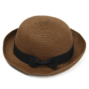 Fashion Summer Women Wide Brim Beach Sun Hat Elegant Straw Floppy Bohemia Cap Coffee - intl