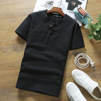 Summer men's short sleeve t-shirt men bottoming shirt polo shirt clothing chinese style solid color round neck slim korean version of the influx of (Black)