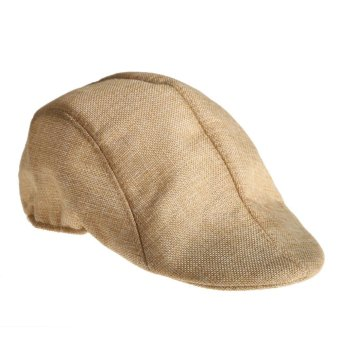 Mens Vintage Flat Cap Peaked Racing Hat Beret Country Golf Newsboy(Beige)