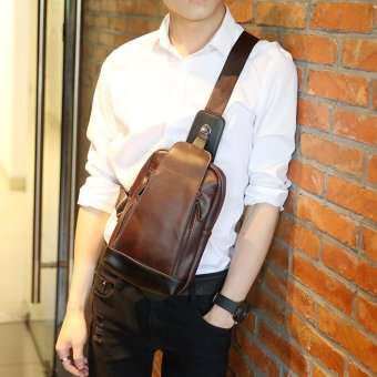 Harga Tidog New men's chest bag Retro Leather fashion chest bag - intl