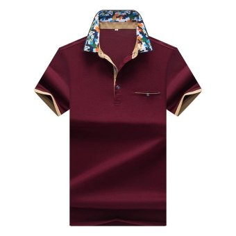 Harga Summer Polo Homme men's short-sleeve floral lapel cotton polo mens solid breathable polo shirts Casual Style Polos Plus (Red) - intl