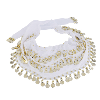 Harga OH 3 Rows 128 Gold Coins Belly Dance Costume Hip Scarf Skirt Belt Wrap Waist White - intl