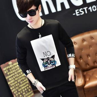 Men's Fashion Full Sleeve O-neck Casual T-Shirts Black - intl