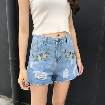 Summer Women's New style Korean-style chic loose Slimming effect wild college wind mill hole embroidery cut edge denim shorts