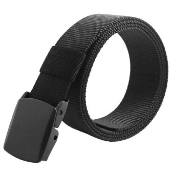 Harga Vanker Unisex Waistband Webbing Canvas Army Tactical Easy Automatic Buckle Waist Belt (Black)