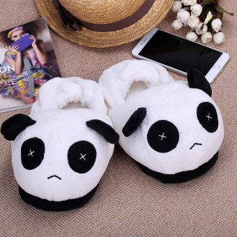 Harga Indoor Novelty Slipper for Lovers Winter Warm Slippers Lovely Cartoon Panda Face Soft Plush Household Thermal Shoes 28cm / 11in - intl