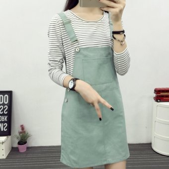 Harga Sweet solid color loose long section denim dress