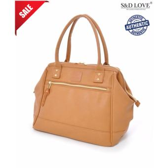 Harga 100% authentic Anello PU leather boston totebag unisex big carry capacity handcarry (color: CAMELBEIGE)