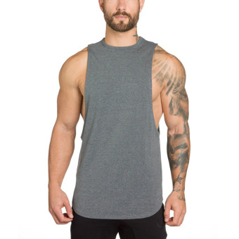 Harga Muscle man summer new men's sports vest fashion slim sleeveless vest fitness undershirt breathable wicking (Gray)