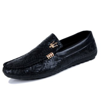ZNPNXN Leather Men's Loafers Shoes (Black)