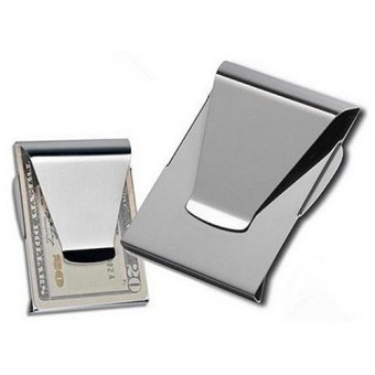 Harga Broadfashion 1Pc Stainless Steel ID Card Folder Double Sided Wallet Holder Slim Money Clip - intl