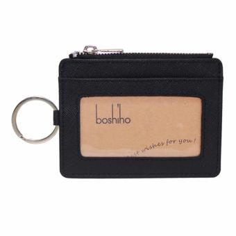 Harga Boshiho Saffiano Leather Credit Card Holder Coin Change Purse with Key Ring Keychain - intl