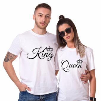 Harga Hequ H1034 Summer T Shirt Woman O neck King Queen Crown Letter Print Couples Casual Man White - intl