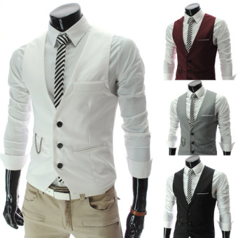 Harga Iron business gentleman suit vest spring and autumn vest male british style slim vest vest korean version of the british (White)
