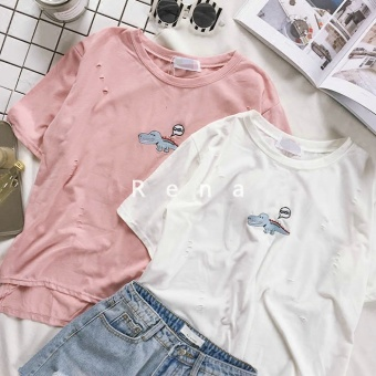 Harga Rena summer models stay Meng cute small crocodile embroidery not rules hole to do the old round neck small loose wild short-sleeved (Pink)