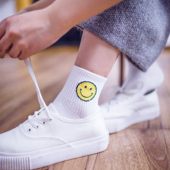 Harga Street beat south korea ulzzang cartoon smiley cute ladies short tube socks in tube socks striped socks socks tide (White)