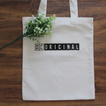Harga korean alphabet canvas tote bags shopping bags women's singles shoulder bag student book bag beoricinal