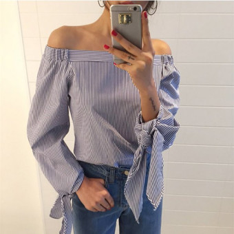 Harga ZANZEA Higt Street Fashion Blusas 2016 Elegant Bow Sexy Off Shoulder Ladies Blouse Shirt Casual All-match Slash Neck Long Sleeve Tops