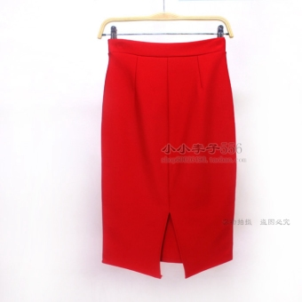 New women's spring and summer high waist career skirt suit tooling skirt package hip skirt step skirt slit skirts and long sections (After a small slit red)