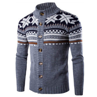 Male Christmas Cardigan Sweater Winter Plus Size Mens Sweaters Long Sleeve Jacket Casual Knitted Sweater Coat Knitwear (Grey) - intl Price in Singapore