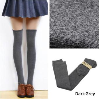 Harga Kawaii Fashionable Women Cotton Knit Sexy Thigh High Over The Knee Long Socks Stockings (Dark Grey)