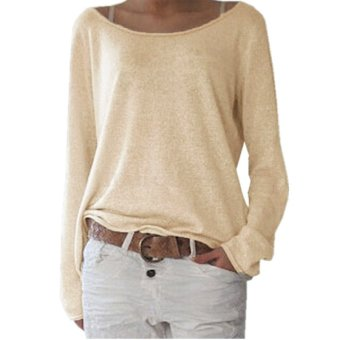 Harga ZANZEA 2017 Plus Fashion Women T Shirt New Casual O Neck Long Sleeve Solid Color Tops Shirts Off White Size S-2XL - intl