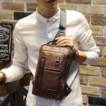 Harga Tidog Fashion Crazy Horse chest bag male Korean tide chest pack men leisure bag crossbody bag - intl