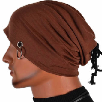Multifunction Men Ring Lacing Beanie Unisex Baggy Light Hip-Hop Skull Cap Unisex(Brown)
