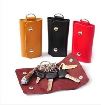 Harga Unisex Genuine Leather Car Key Holder Case Bag Key Chain(Yellow) - intl