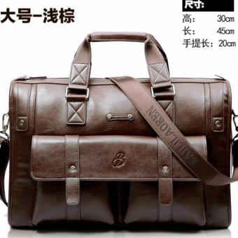 Harga May Sky Men Leather Work Business Bags Size 45*30*20cm Color Light Brown MSA8R2 (Color:As First Picture) - intl