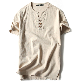Korean fashion men's casual solid color V-NECK short sleeve t-shirt sleeve shirt simple men's fashion t-shirt male tide (Beige)