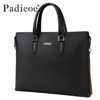 Harga Padieoe Fashion Men's Bag Business Men Briefcase PU Leather High Capacity Laptop Bag Male Youth Bag Tote Handbags 14.9inch Black - intl